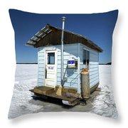 Ice Fishing Shack Throw Pillow