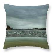 Ice Flow Mississippi River Throw Pillow