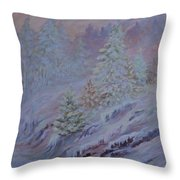 Ice Fog In The Forest Throw Pillow