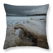 Ice Formations At Cawaja Beach Throw Pillow