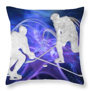Ice Hockey Players Fighting For The Puck Throw Pillow
