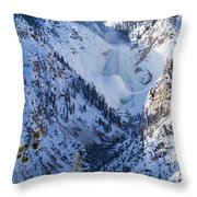 Ice In The Falls Throw Pillow