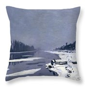 Ice On The Seine At Bougival Throw Pillow