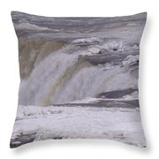 Ice Over The Falls Throw Pillow