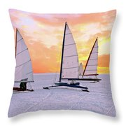 Ice Sailing On The Gouwzee In The Countryside From The Netherlan Throw Pillow