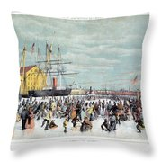 Ice Skaters, C1856 Throw Pillow