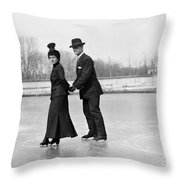 Ice Skaters Throw Pillow