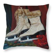 Ice Skates And Mittens Throw Pillow