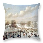 Ice Skating, 1865 Throw Pillow