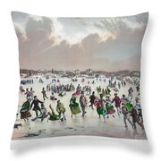 Ice Skating, C1859 Throw Pillow