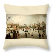 Ice Skating In A Village Throw Pillow