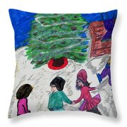 Ice Skating In The Park Throw Pillow