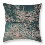 Ice Storm Branches - Blue Throw Pillow