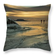 Ice Trail Hikers Throw Pillow
