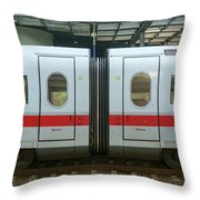 Ice Train At Berlin Station Throw Pillow