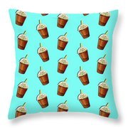 Iced Coffee To Go Pattern Throw Pillow