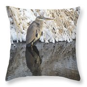 Iced Heron Throw Pillow