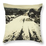 Iced Over Road Throw Pillow