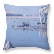 Icefjord In Greenland Throw Pillow