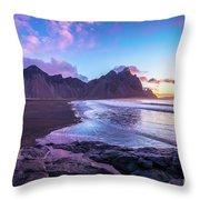 Iceland Beach Sunrise At Stokksnes Throw Pillow