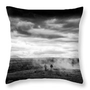 Iceland Black And White Landscape Haukadalur Throw Pillow