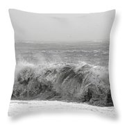 Iceland Black Sand Beach Wave Five Throw Pillow