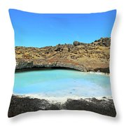 Iceland Blue Lagoon Exploring The Lava Fields Throw Pillow