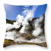 Iceland Geothermal Area With Steam From Hot Springs Throw Pillow