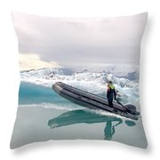Iceland Glacier Lagoon Throw Pillow