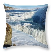 Iceland Gullfoss Waterfall In Winter With Snow Throw Pillow