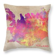 Iceland Map Throw Pillow