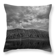 Iceland Mountain Reflections Bw Throw Pillow