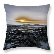 Iceland Sunrise Iceland Lava Field Streams Sunrise Mountains Clouds Iceland 2 2112018 1095.jpg Throw Pillow