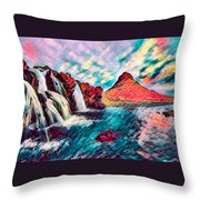 Iceland Waterfalls Throw Pillow