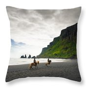 Icelandic Horses On The Beach In Vik Iceland Throw Pillow