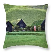 Icelandic Turf Homes Throw Pillow