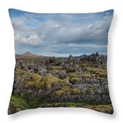 Icelands Mossy Volcanic Rock Throw Pillow