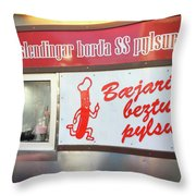 Iceland's World Famous Hot Dog Stand Iceland 2 3122018 J2328.jpg Throw Pillow