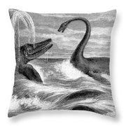 Ichthyosaurus And Plesiosaurus Throw Pillow