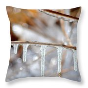 Icicles And Bokeh Throw Pillow