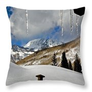 Icicles In East Vail Throw Pillow