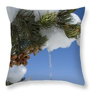 Icicles On Pine Tree Throw Pillow