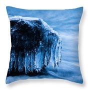 Icicles On The Rocks Throw Pillow