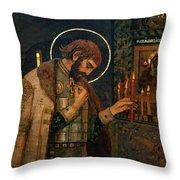 Icon Of Reverend Prince Alexander Nevsky. Saint Petersburg Throw Pillow