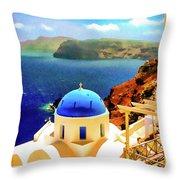Iconic Anastaseos Oia Santorini Greece Throw Pillow