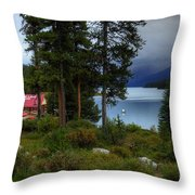 Iconic Maligne Lake And Boat House II Throw Pillow