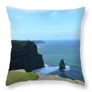 Iconic Needle Rock Formation And The Cliff's Of Moher Throw Pillow