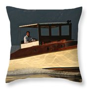 Iconic Wooden Runabout Throw Pillow