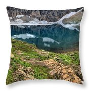 Icy Blue And Lush Green Throw Pillow