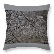 Icy Branches Throw Pillow